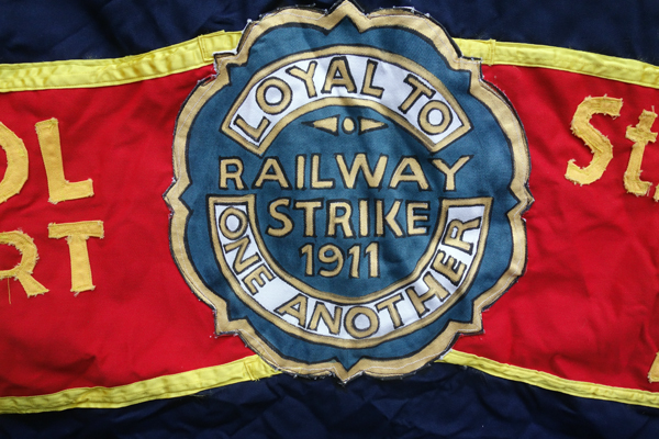 Trade Union Banner (detail). Lime Street station, Liverpool.