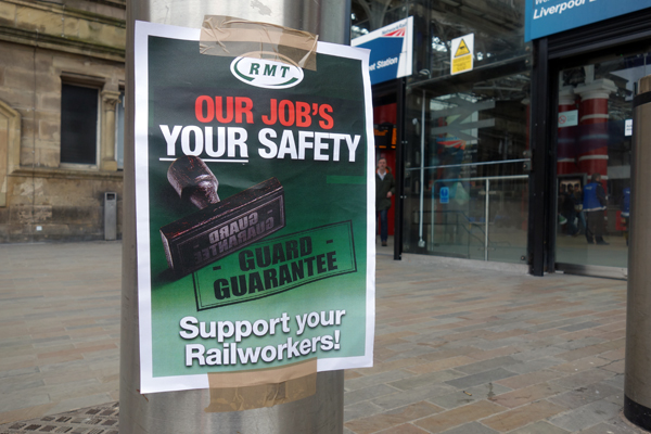 A message from the RMT. Lime Street station, Liverpool.