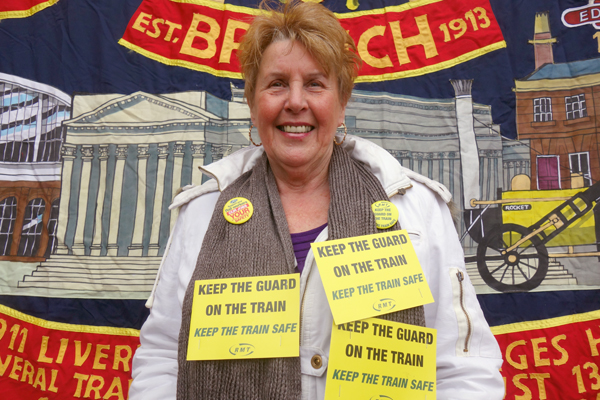 A member of the travelling public who supported the strike. Lime Street station, Liverpool.