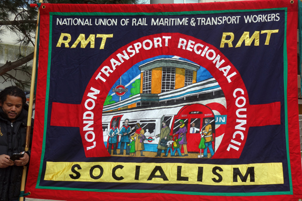 RMT banner from London. Liverpool 2017.