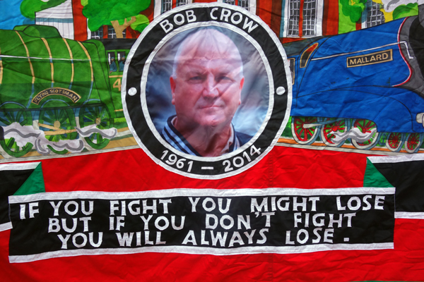 RMT banner from Doncaster. Liverpool 2017.