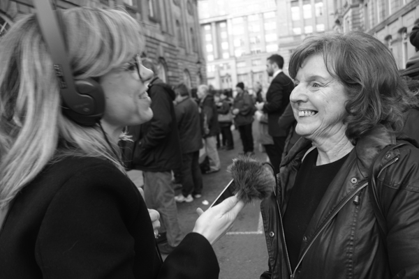 Julie Lyon-Taylor during a live radio interview at the protest. Liverpool 2017.