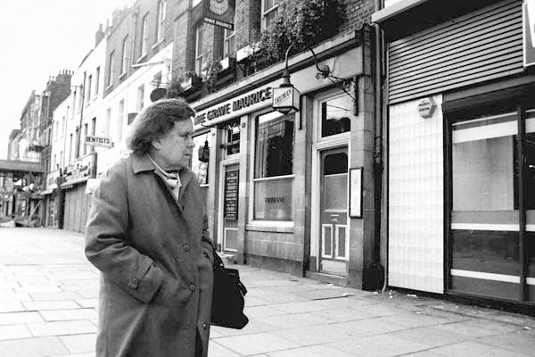 Woman. Near the Grave Maurice pub. Whitechapel, London c. 1985.