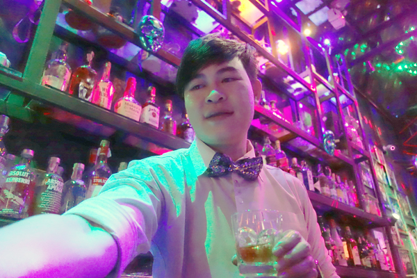A barman. The Ram Cabaret bar, Chaing Mai Thailand 2017.