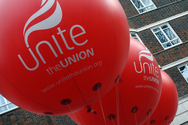 "'UNITE"" balloons. NHS demonstration. London 2017."