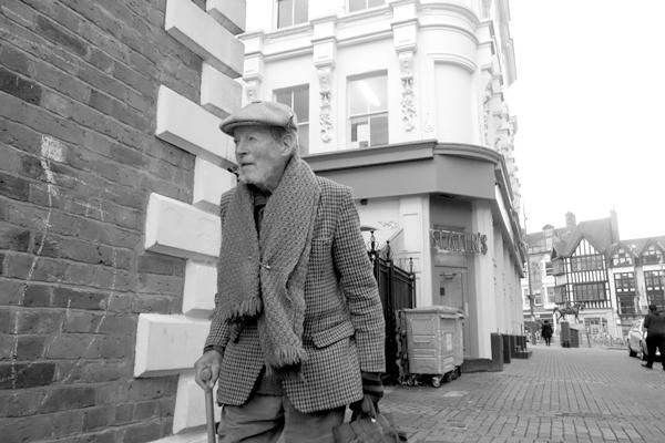 Man with a walking stick. Wolverhampton 2017.