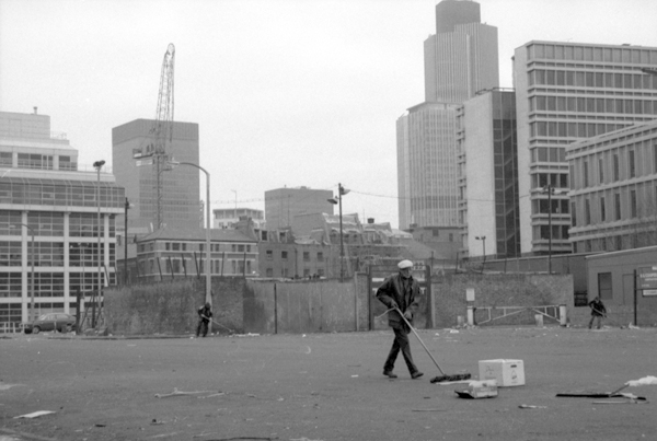 Behind Spitalfields market, London c.1988.