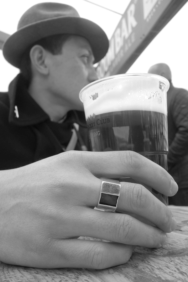 Taking a break at the bar. Aintree 2017.