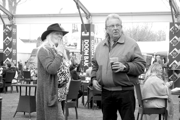 Having a drink. Aintree 2017.