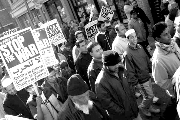 Demonstration against the war. Brick Lane, London 2002.
