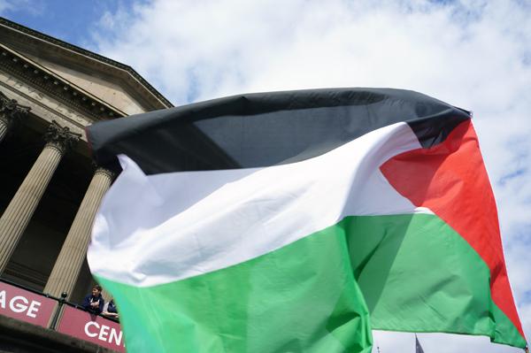Palestinian flag. Liverpool May 2017.