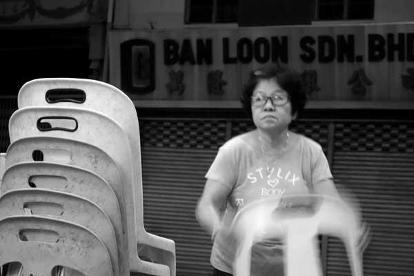Stacking chairs. Melaka, Malaysia 2017.
