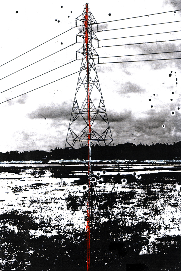 'Bangladesh energy'. Acrylic on print on card. 2017.