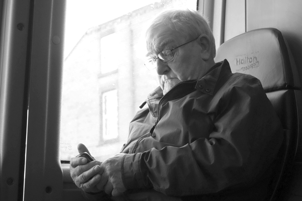Checking the phone. Liverpool 2017.