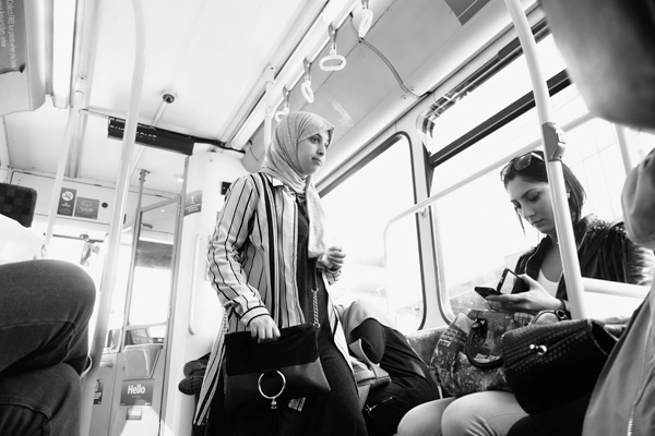 Getting a seat on the bus. Liverpool 2017.