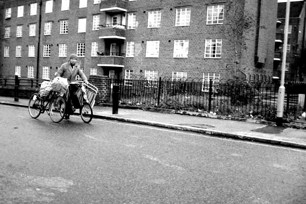 Man with a bike. Hanbury Street, East London 1987.