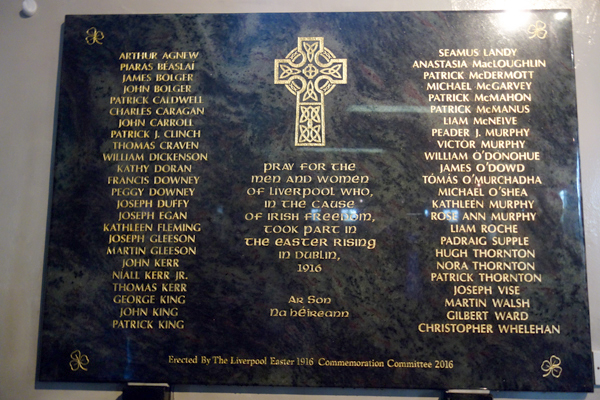 The plaque commemorating the men and women who fought in defense of the Irish Republic.