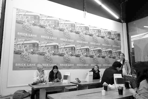Rough Trade record shop advertising my book 'Brick Lane. Drays Walk. Off Brick Lane 2014.