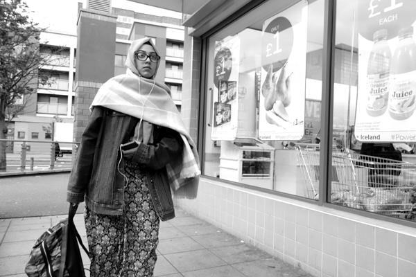 Listening. Watney Market. East London 2017.