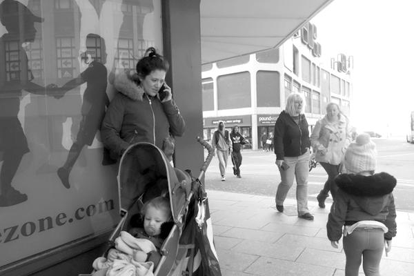On the phone. Blackpool 2017.