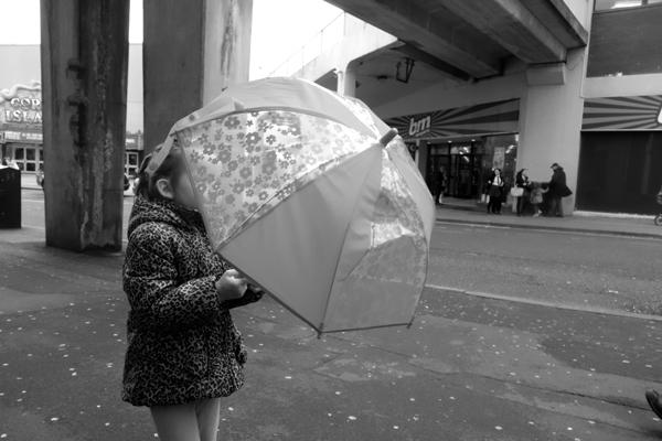 Girl with an umbrella. Blackpool 2017.