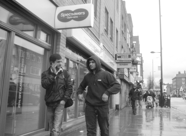 In the rain. Bethnal Green Road 2010.