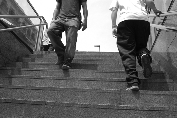 Steps from the underground. Barcelona 2005.