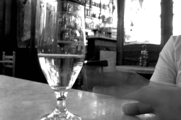 A glass of lager. Barcelona 2005.