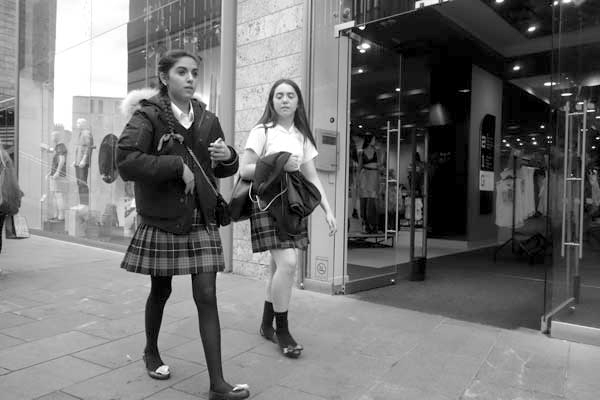 Wearing kilts. Liverpool One 2017.