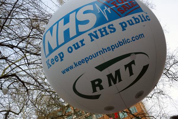 RMT baloon. NHS London demonstration 2017.