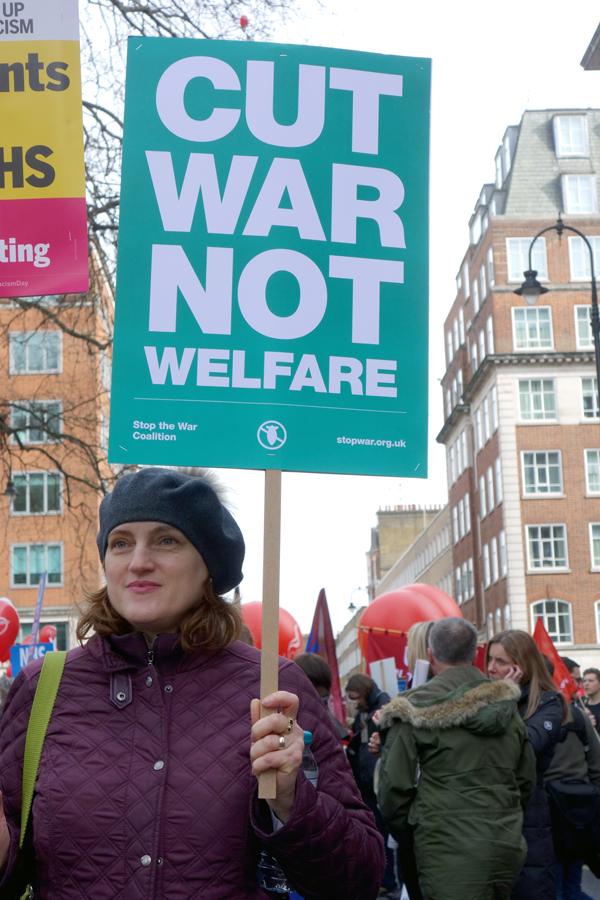'Cut war not welfare.' NHS London demonstration 2017.