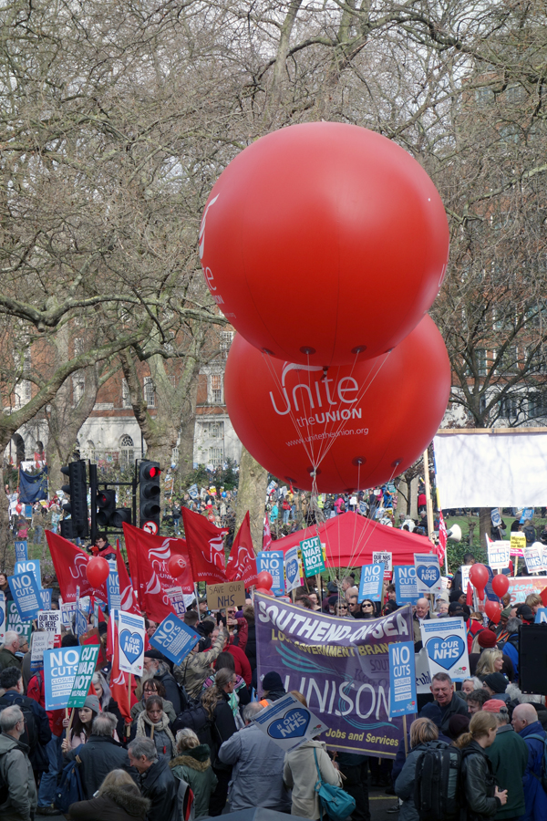 UNITE baloons. NHS London demonstration 2017.