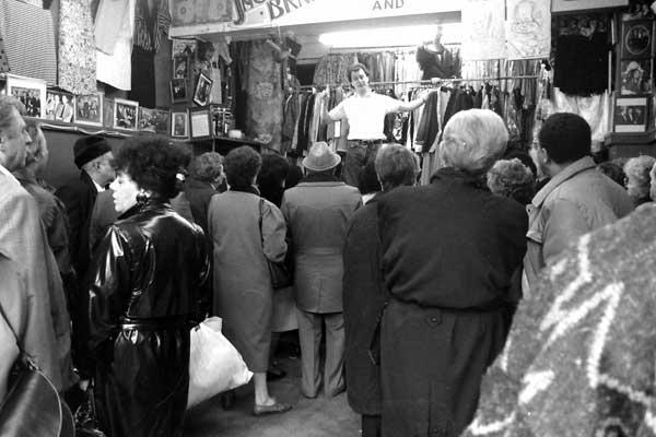 Auction in Petticoat Lane. East London 1985.
