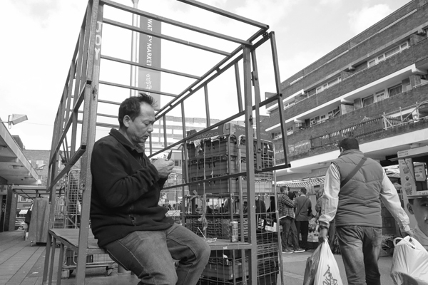 On the phone. Watney market 2017.