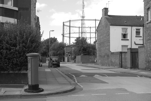 View of gas holder from Wellington Road. Wavertree 2016.