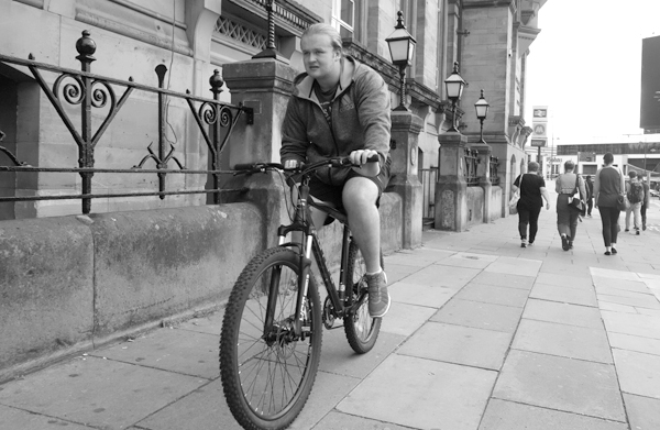 Cycling in Lime Street. Liverpool 2017.