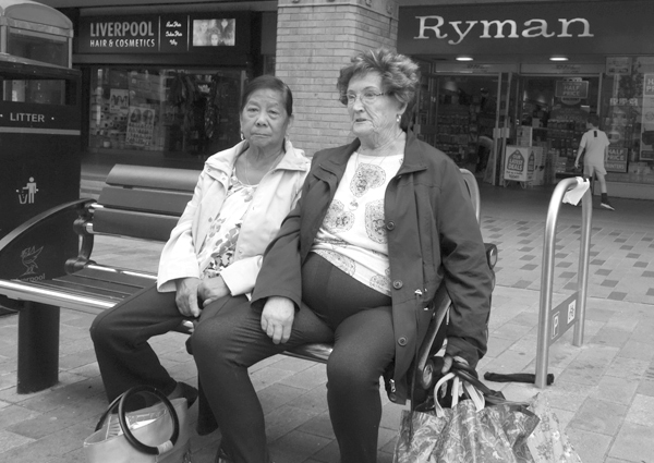 Friends on a bench. Liverpool 2017.