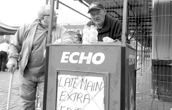 Paper seller. Liverpool 2017.