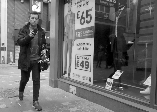 On the phone. Leigh Street. Liverpool 2017.
