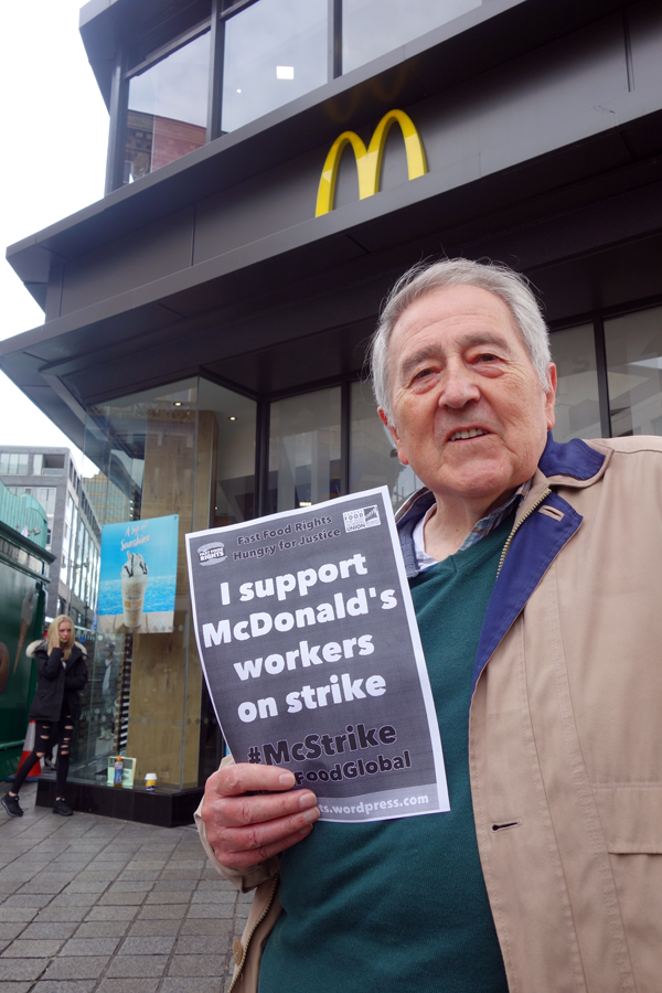 Terry Harrison of the Merseyside Pensioners Association, outside McDonald's. Liverpool 2017.