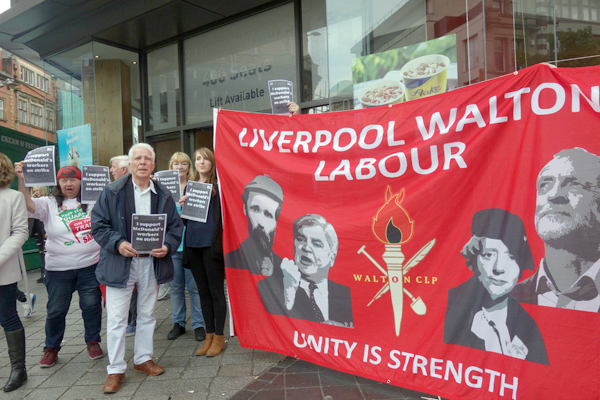 Labour Party banner outside McDonald's. Liverpool 2017.