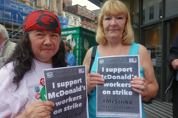 Members of the Merseyside Pensioners Association, outside McDonald's. Liverpool 2017.