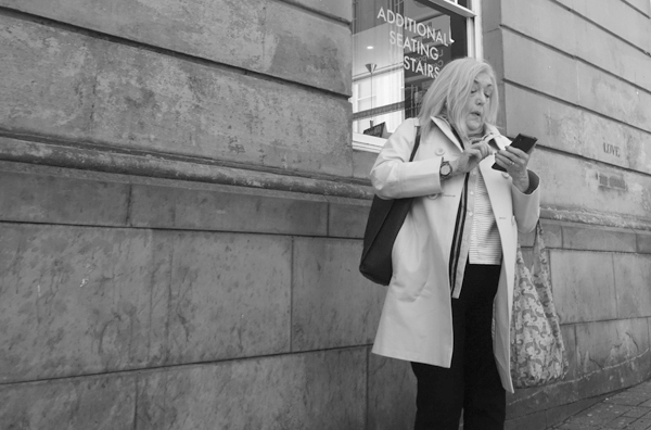 On the phone. Bold Street, Liverpool September 2017.