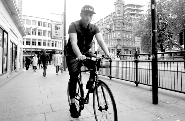 Cycling next to Lewis's. Liverpool September 2017.