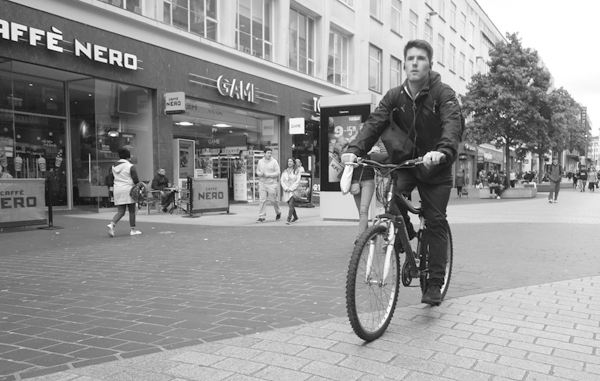 Cyclist in Church Street. Liverpool September 2017.