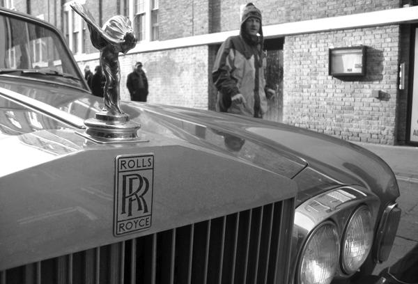 Rolls Royce on Brick Lane. East London March 2010.
