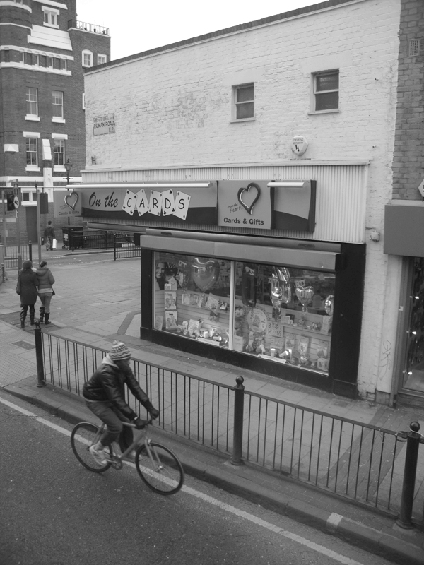 Cyclist. Roman Road, East London 2010.