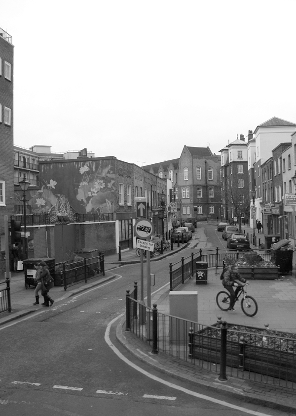 View from the top of a bus Roman Road, East London 2010.