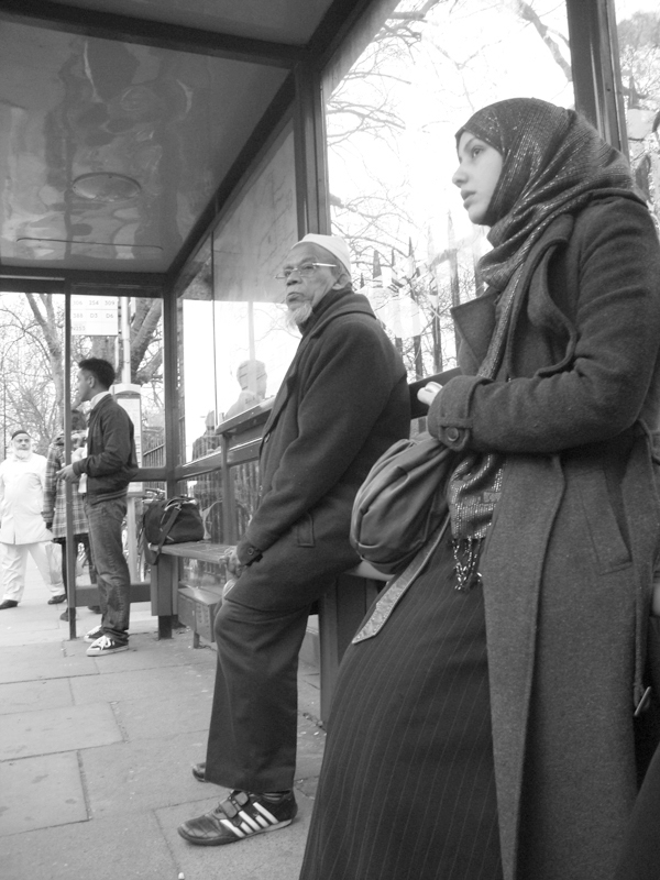 Bus stop. Cambridge Heath Road. East London 2010.