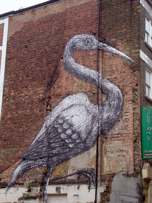 Street art in Hanbury Street. Spitalfields, East London 2010.
